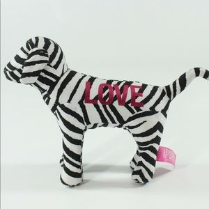 🆕 PINK mascot plush dog LOVE zebra stripe